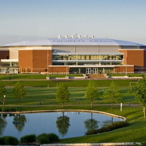 Picture of back facade of Chaifetz Arena that faces Saint Louis University outdoor athletics complex